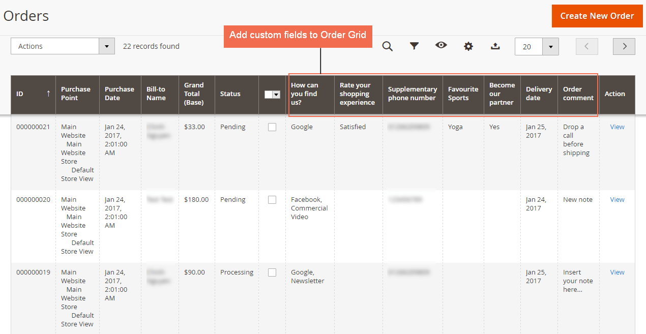 magento 2 checkout custom field extension displays extra fields on order grid