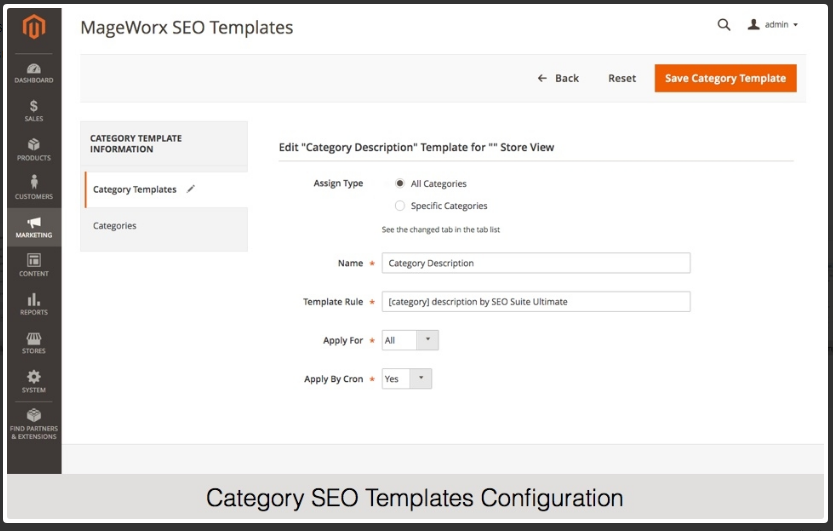 Category-SEO-template-configuration Magento 2 Meta Tags extension mageworx