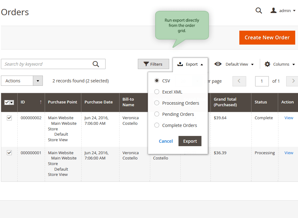 Magento 2 Order Export Extension Amasty