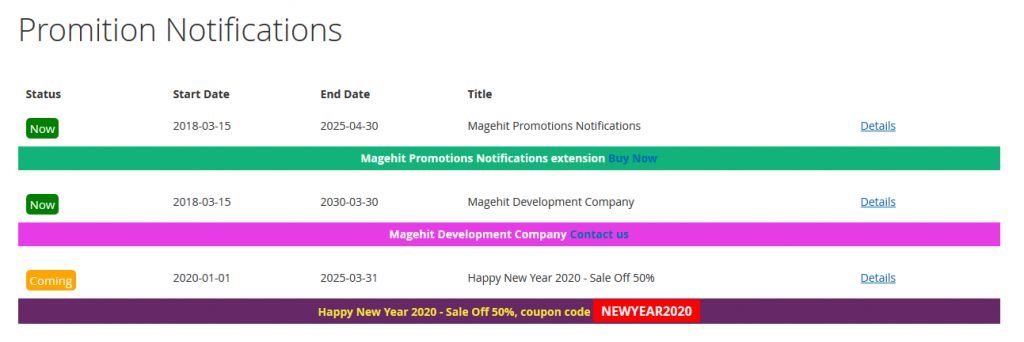 magento 2 promotion bar extension magehit